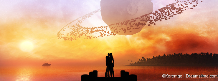Couple Under Fantasy Sky