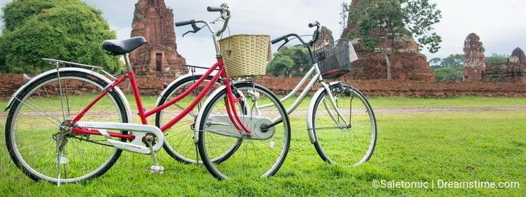 Bicycle tour among the ruins of ancient Ayutthaya, Thailand