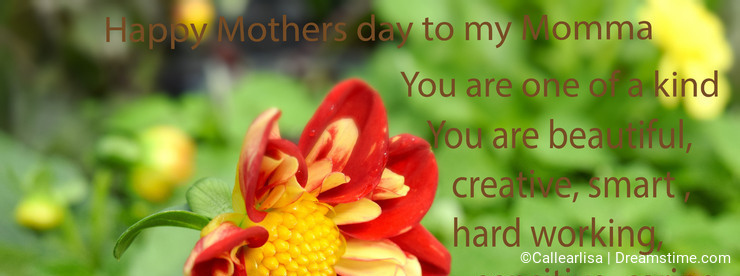 Red and yellow Dahlia Mothers day card