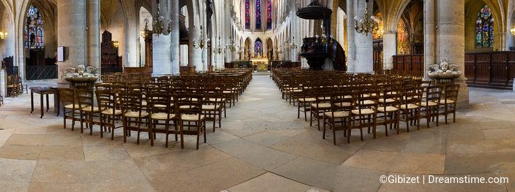 Interiors and details of Saint Germain l Auxerrois church - Paris - France
