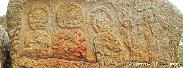 Buddhist Images Carved on Rock Surface at Tapgok of Namsan, Gyeongju