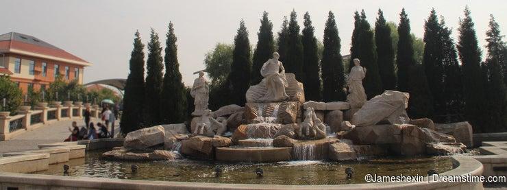 western garden Ancient Greek gardens Greek Samurai fountain