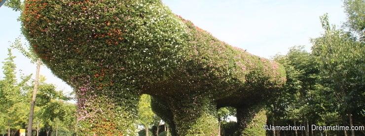 The plants sculpture, Green sculpture , The century door