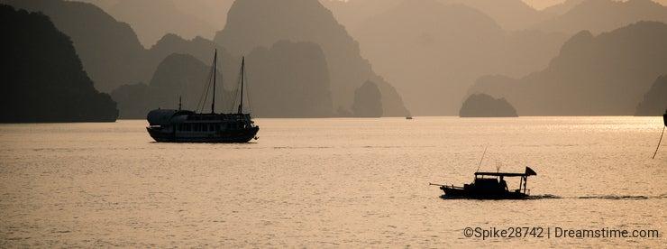 Fishing boat in halong bay vietnam