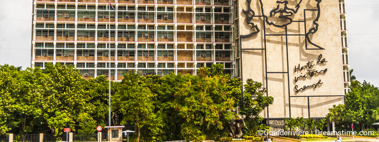 Che Guevara`s image is outlined on the Ministry of the Interior Building in Havana Cuba
