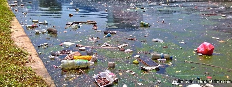 Polluted river canal