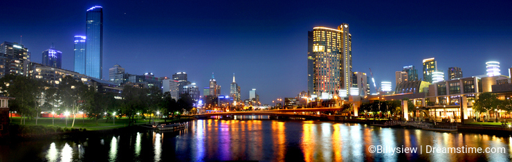 Panorama of Melbourne city at night