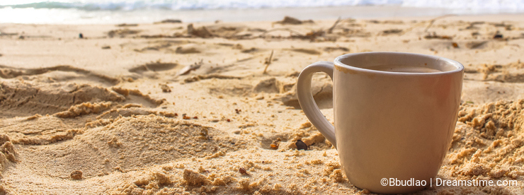 Morning coffee at the beach