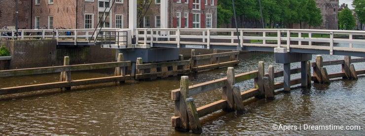 Bridge Pelserbrugje crossing city canal in Zwolle