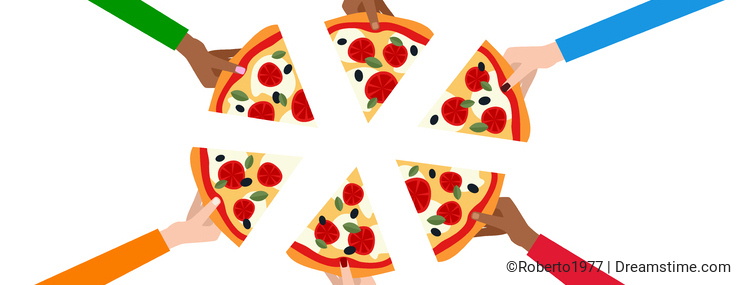 Six Hands with Slices of Pizza Banner