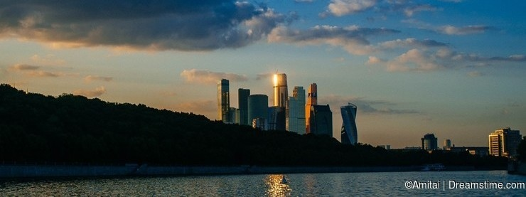 Russian Motherland -Moscow downtown in Sunset