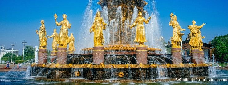 Russian Motherland - VDNKh golden Friendship of Nations fountain 2