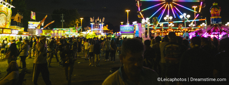 County Fair at night Ferris Wheel on the Midway