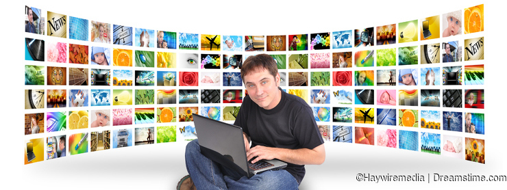 Laptop Computer Man with Image Gallery