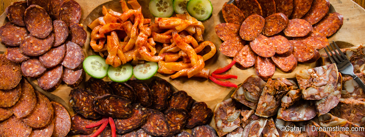 Meat and appetizers platter