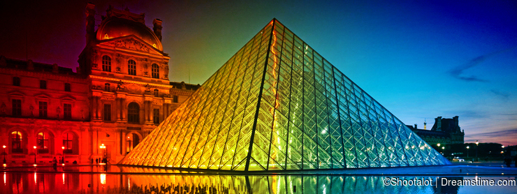 Louvre Museum at Sunset-Rainbow Colors