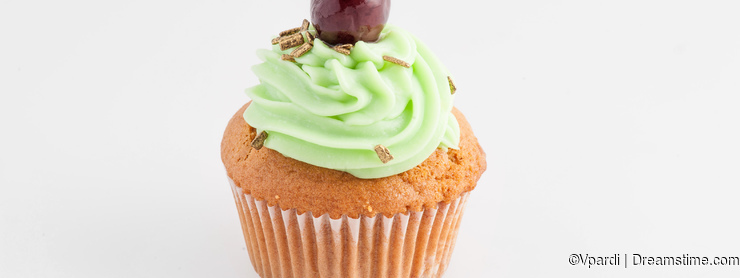Cupcake isolated on neutral background