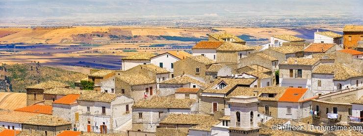 The apulia village of Bovino - Foggia province - Italy and the Tavoliere delle Puglie