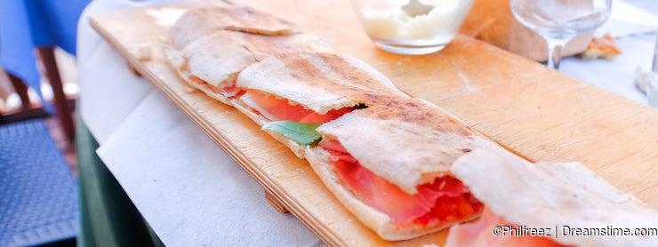 Paposcia flat bread of Gargano area and Foggia province in Apulia - traditional italy food