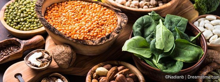 Healthy vegan food assortment.