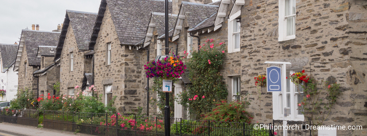 Beautiful boulder houses in the main street of Pitlochry, Scotland