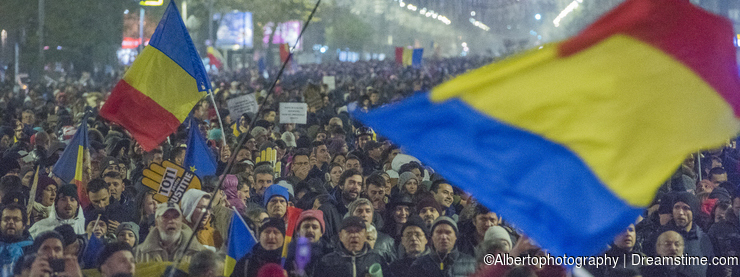 Romanians protest against government