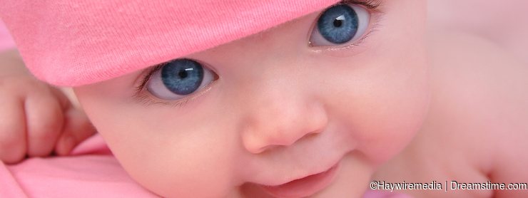 Pink Little baby Girl with Big Eyes