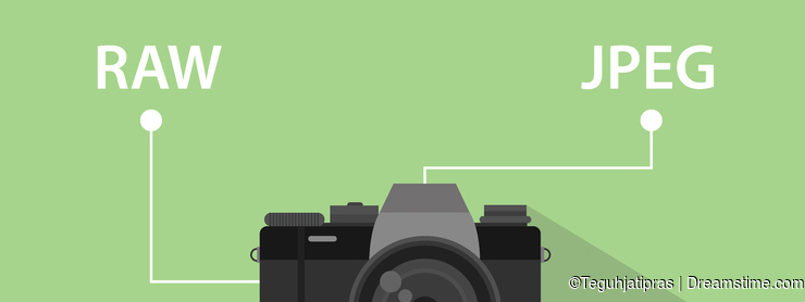 Comparing format file of camera between RAW format and JPEG format illustration with camera icon and green background