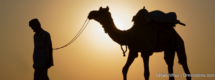 A camel driver walks with his camel in the sun light