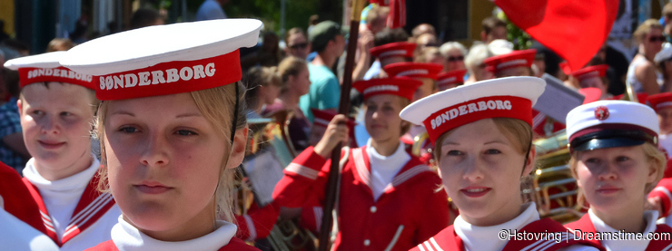 Local march band in summer parade, Sonderborg