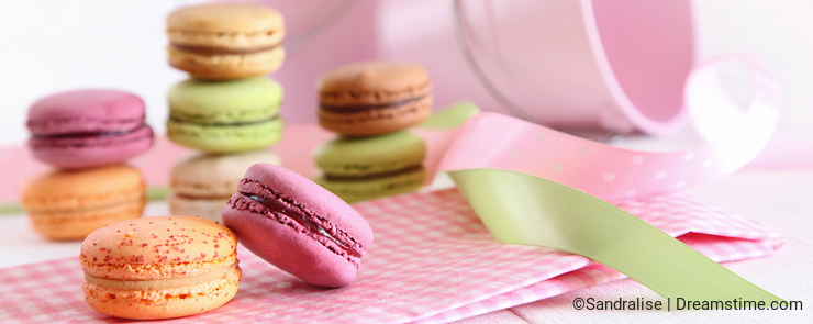 Delicious French Macaroons on table