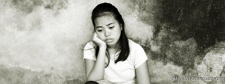 Sad girl with deep thoughts