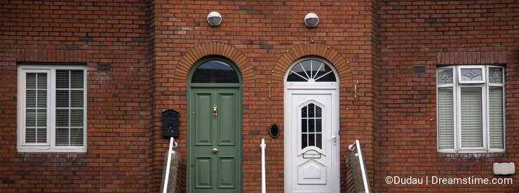 Semi detached house with typical irish doors
