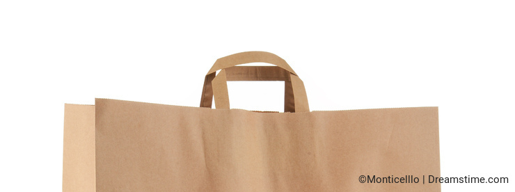 Original IKEA paper shopping bag isolated on white