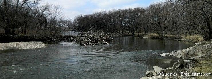 Beautiful Springtime River Rural America