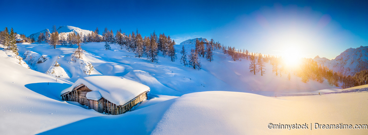 Idyllic winter mountain landscape in the Alps at sunset