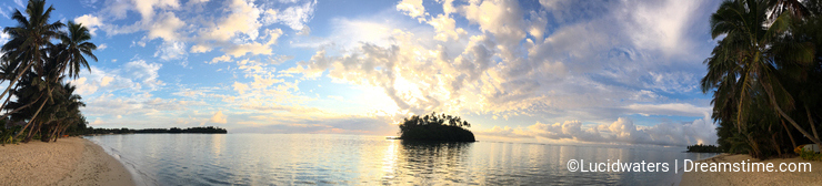 Panoramic landscape view of Muri lagoon at sunrise in Rarotonga
