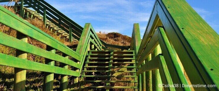Green wooden stairs at Porto Covo - Portugal