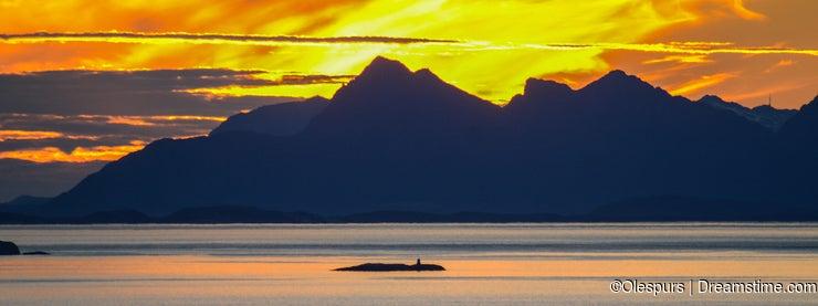 Sunset behind Lofoten Islands