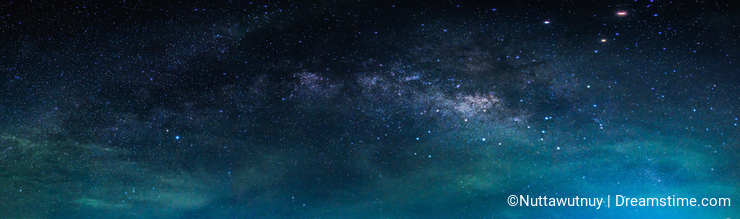 Landscape with Milky way galaxy. Night sky with stars