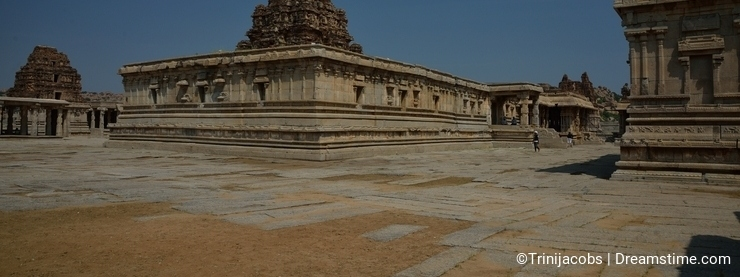 The tower of Maha-Mantapa, the great hall inside Vijaya Vittala Temple at Hampi