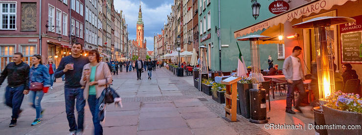 GDANSK, POLAND - MAY 1, 2018: Cityscape with street on 1 May 201