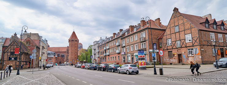 GDANSK, POLAND - APRIL 29, 2018: Cityscape with street on 29 Apr
