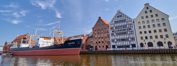 GDANSK, POLAND - APRIL 29, 2018: SS Soldek ship on Motlawa river