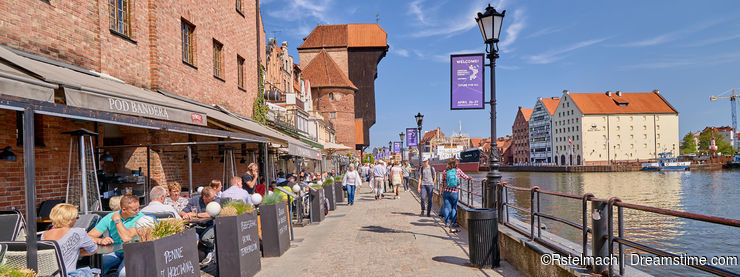 GDANSK, POLAND - APRIL 29, 2018: Motlawa waterfront in the hist