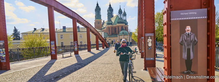 POZNAN, POLAND - APRIL 30, 2017: Bishop Jordan`s Bridge leading