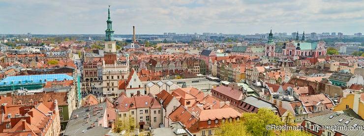 POZNAN, POLAND - APRIL 30, 2017: View of the old town on 30 Apri
