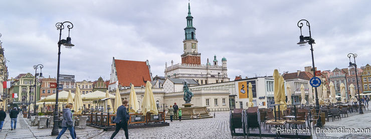 POZNAN, POLAND - APRIL 30, 2017: Old town square on 30 April 201