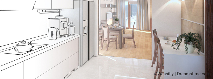 Kitchen interior. 3d illustration, render.