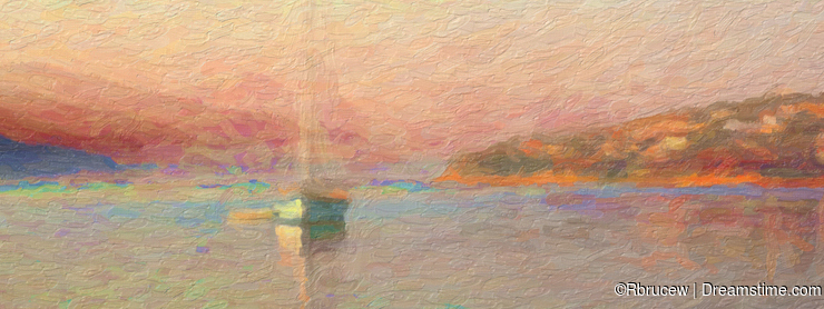 Impression Sunrise, Sail Boat in Bay, Oil Painting Style